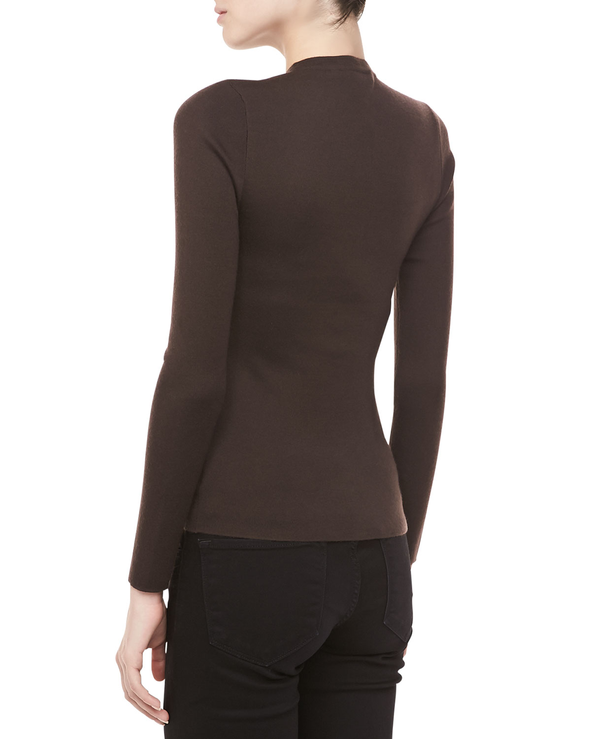 Michael kors Longsleeve Cashmere Sweater Chocolate in Brown | Lyst