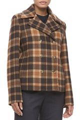 Michael Kors Plaid Wool Pea Coat - Lyst