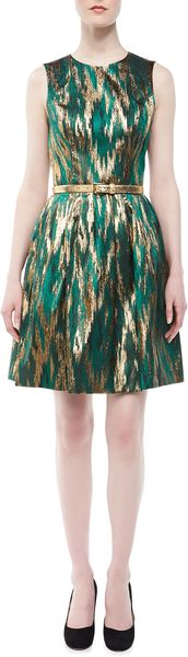 Michael Kors Ikat Jacquard Metallic Dress - Lyst