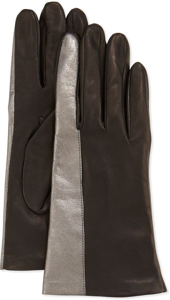 Portolano Metallicstriped Leather Gloves - Lyst