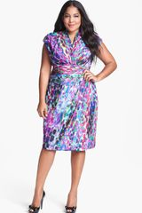 Suzi Chin For Maggy Boutique Stripe Jersey Faux Wrap Dress - Lyst