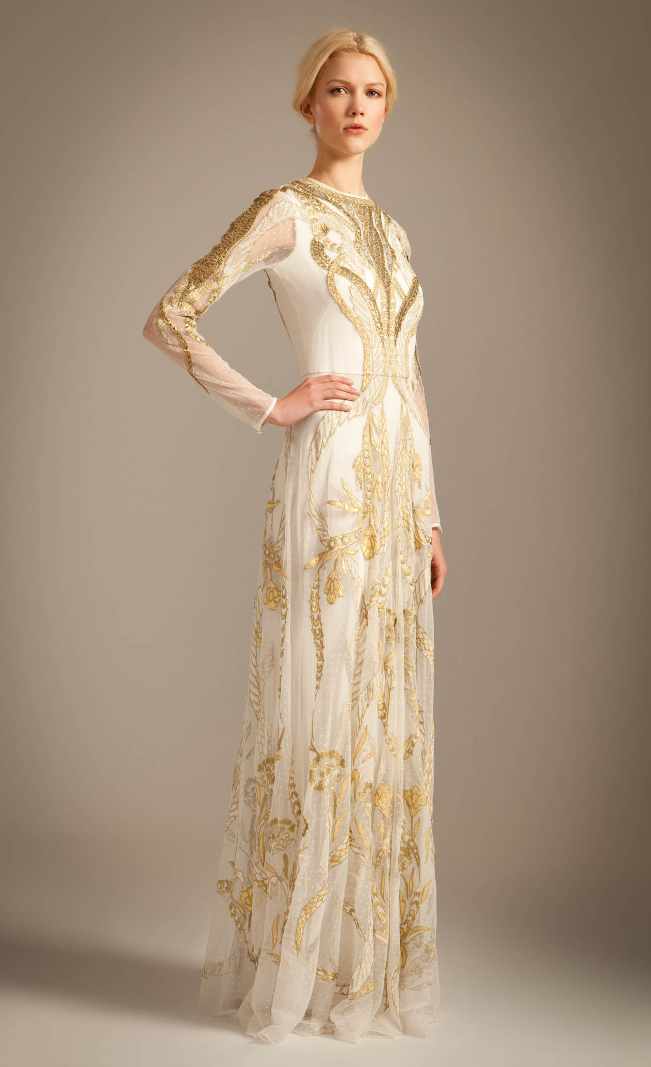 Lyst Temperley London Long Aya Show Dress In Metallic