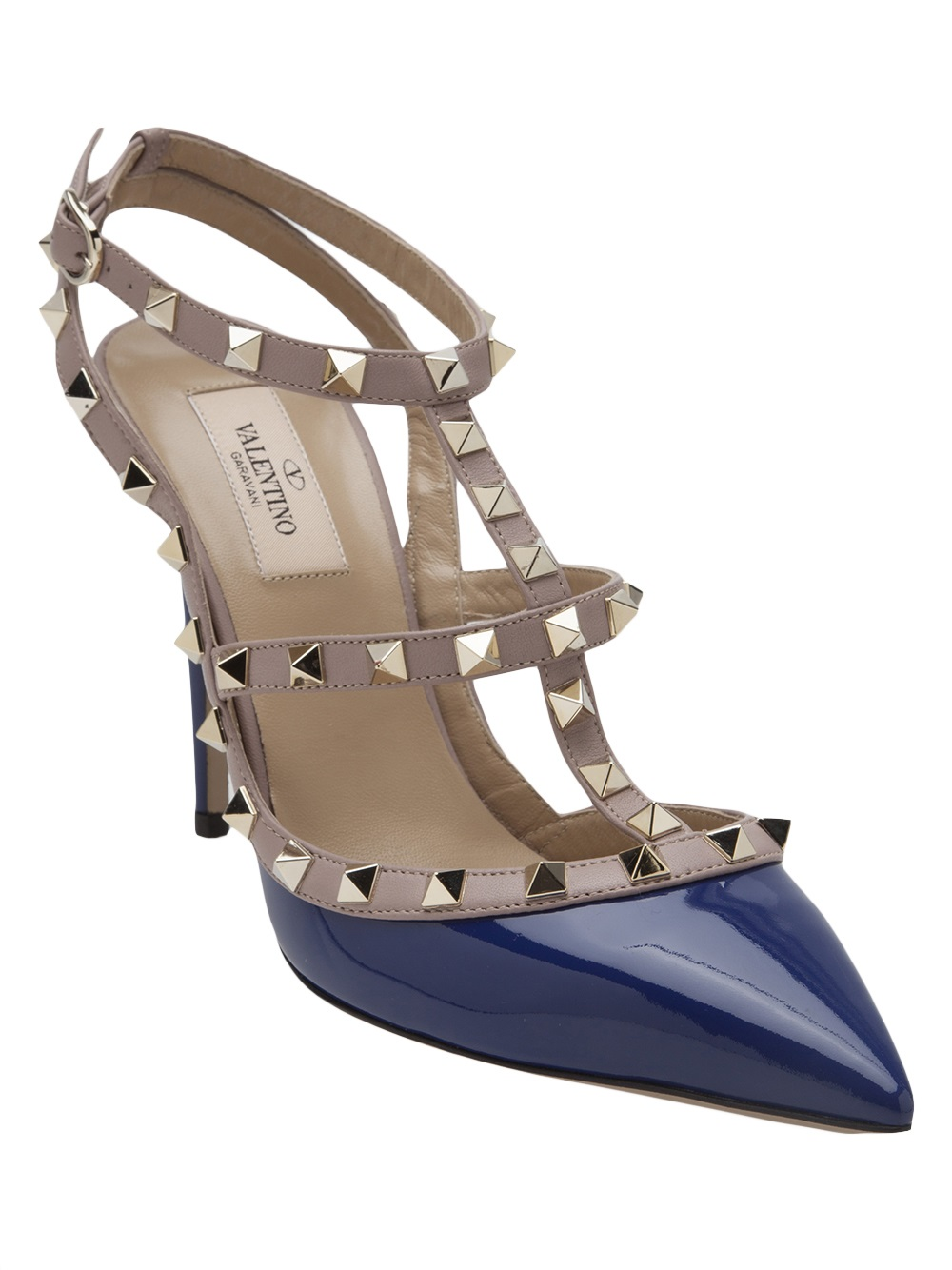 valentino rockstud t strap pump in purple blue lyst. Black Bedroom Furniture Sets. Home Design Ideas