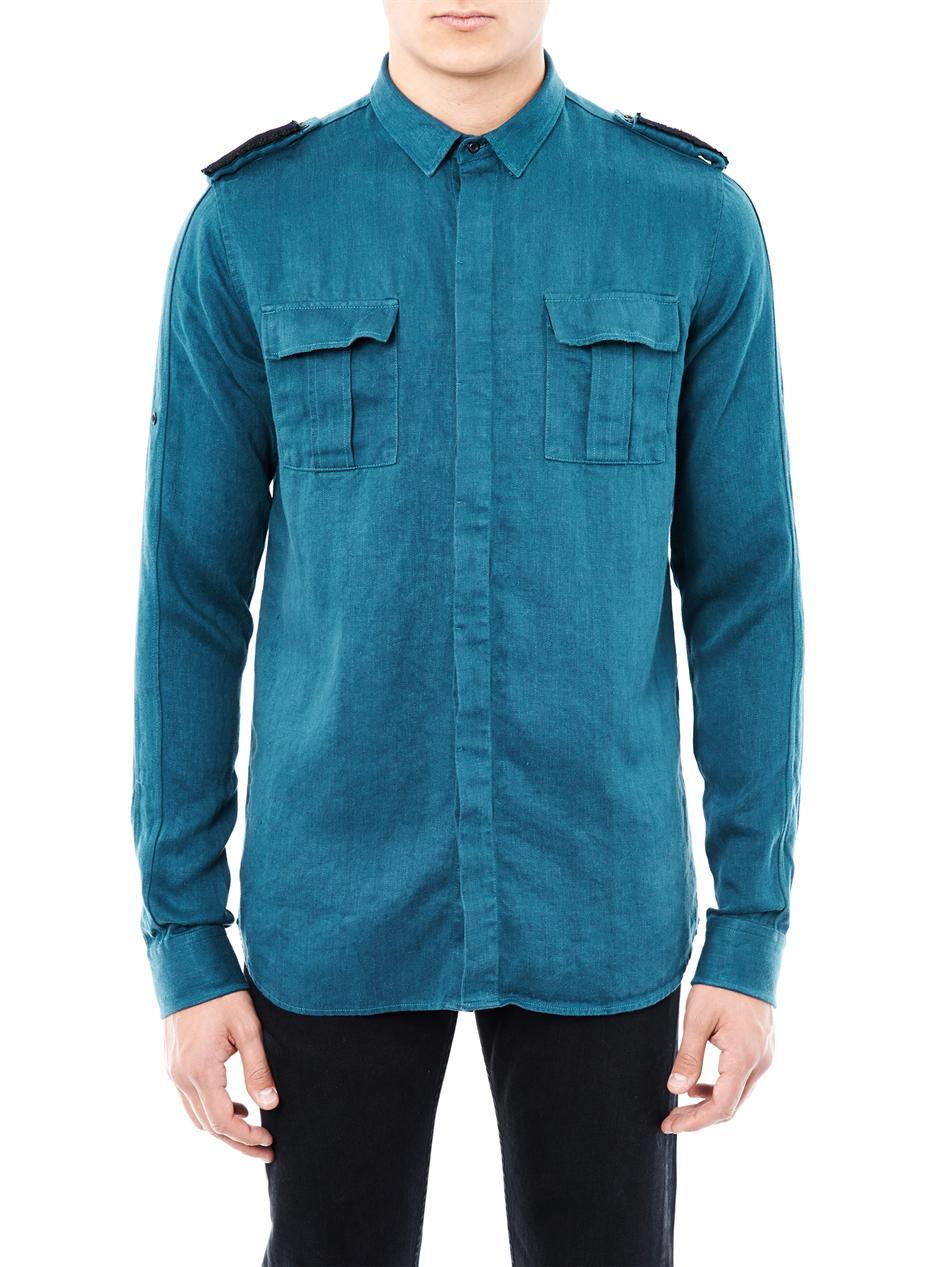 Lyst Balmain Embroidered Epaulette Linen Shirt In Blue