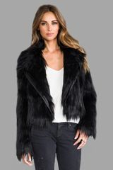 Chaser Faux Fur Moto Jacket in Black - Lyst