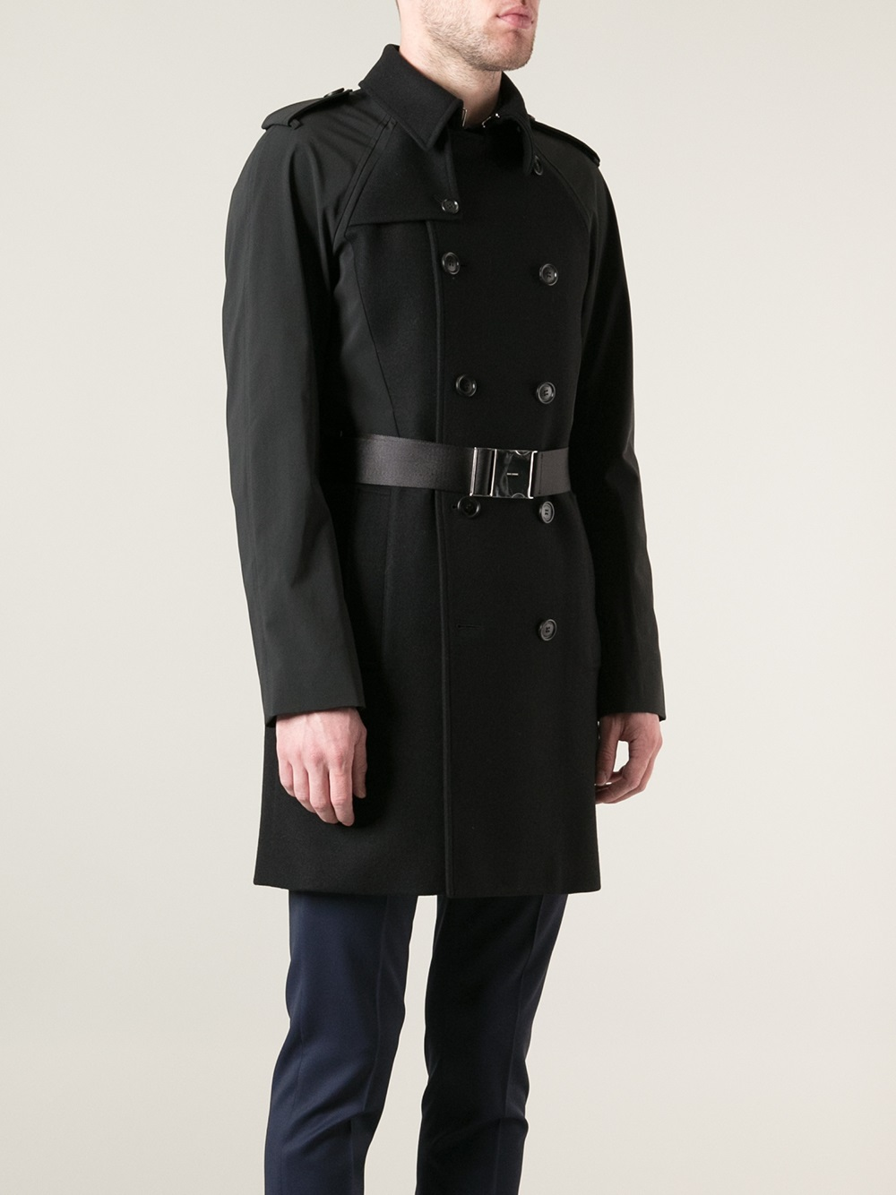 dior homme trench coat in black for men lyst
