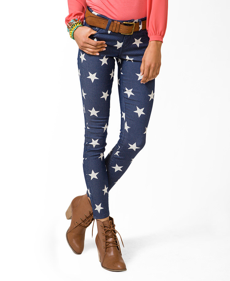Forever 21 Star Print Skinny Jeans in Blue