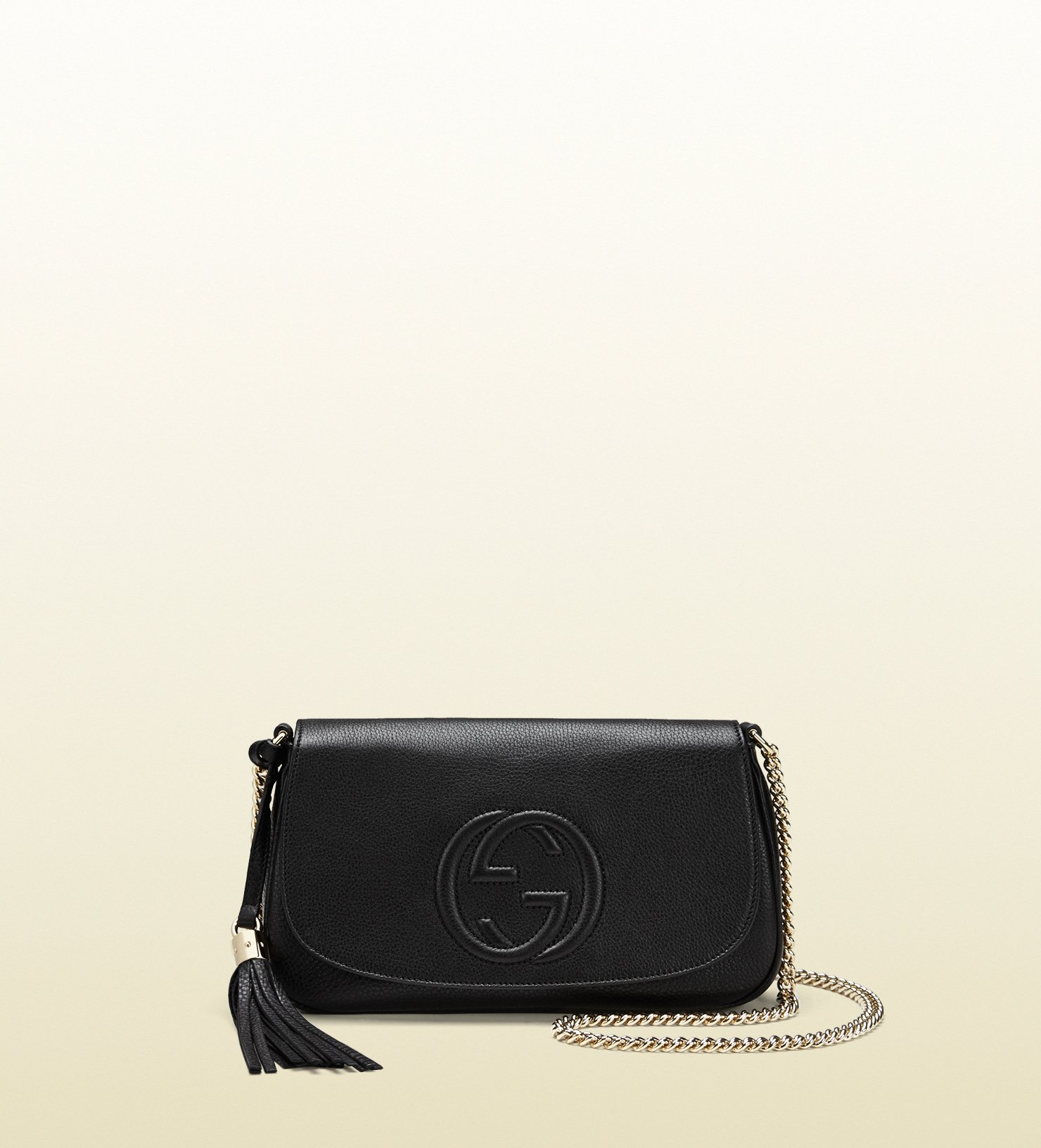 4dd4ad98cff390 Gucci Soho Leather Shoulder Bag in Black - Lyst