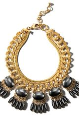Henri Bendel Sequin Black Gold Deco Necklace - Lyst