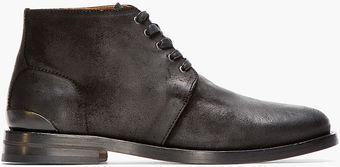Rag & Bone Black Brushed Leather Archer Desert Boots - Lyst