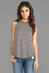 The Lady & The Sailor Bare Striped Tank in Black - Lyst