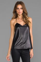 Tibi Leather Front Cami in Black - Lyst