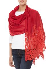 Valentino Heavy Lace Cashmere Shawl Red - Lyst