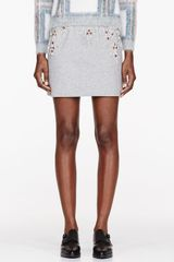 3.1 Phillip Lim Heather Grey Crystal Embroidered Boxing Skirt - Lyst
