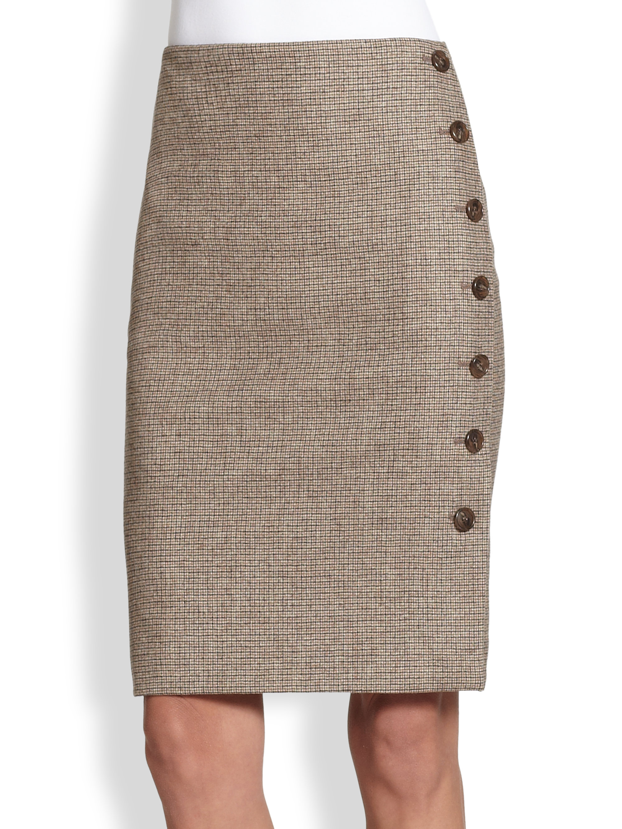 Akris Plaid Sidebutton Pencil Skirt in Brown | Lyst