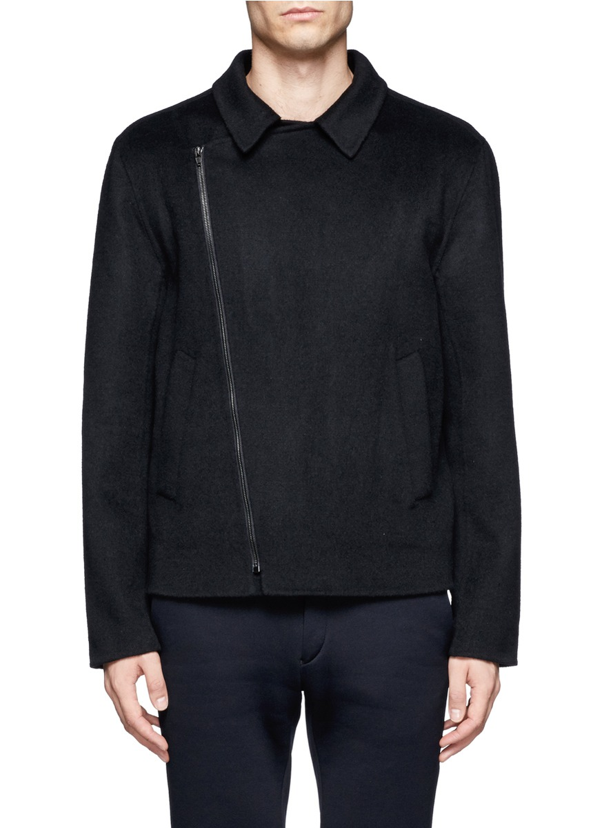 Lyst Alexander Wang Asymmetrical Zip Wool Blend Jacket