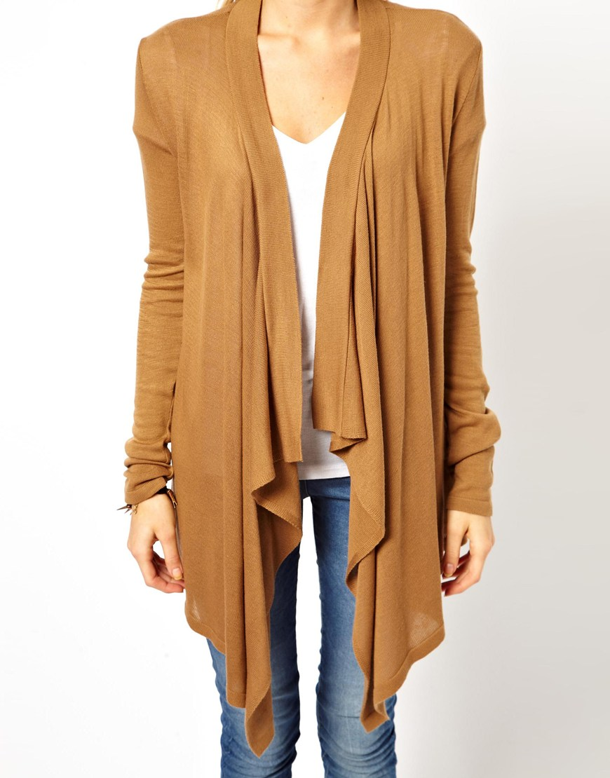 Asos Asos Waterfall Cardigan in Brown | Lyst