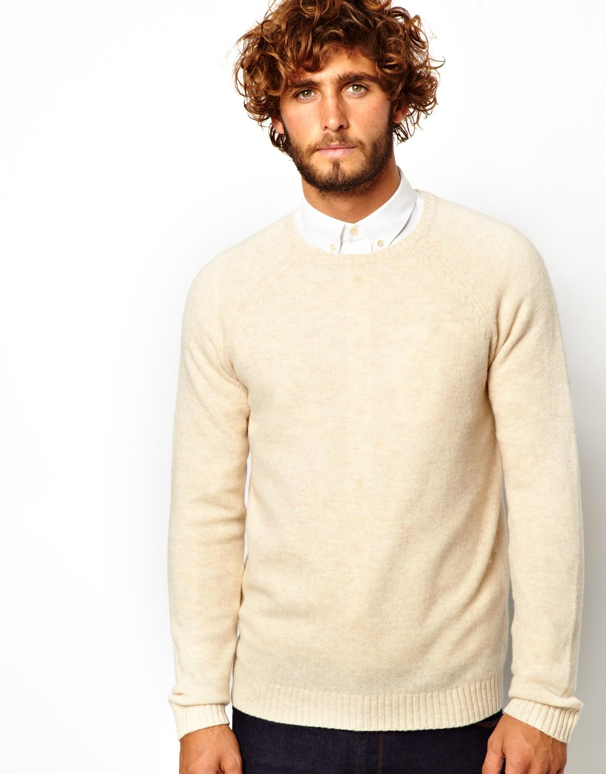 Asos Lambswool Rich Sweater in Natural for Men | Lyst