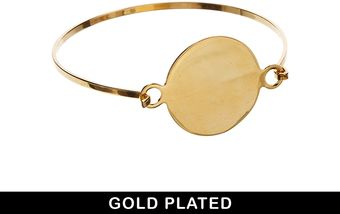 Asos Gold Plated Disc Bangle - Lyst