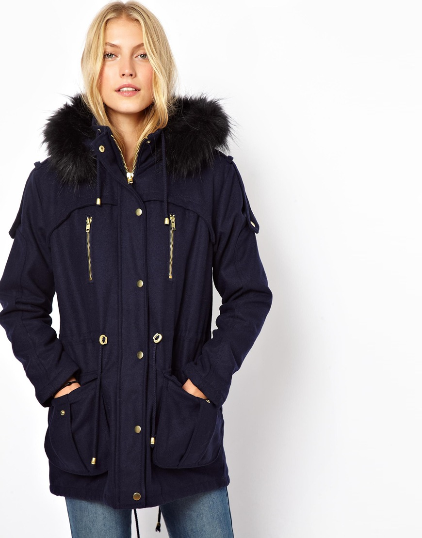 Asos Wool Parka With Faux Fur Hood in Blue | Lyst