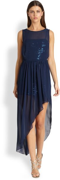 BCBGMAXAZRIA Katrine Asymmetrical Chiffon Sequin Dress - Lyst