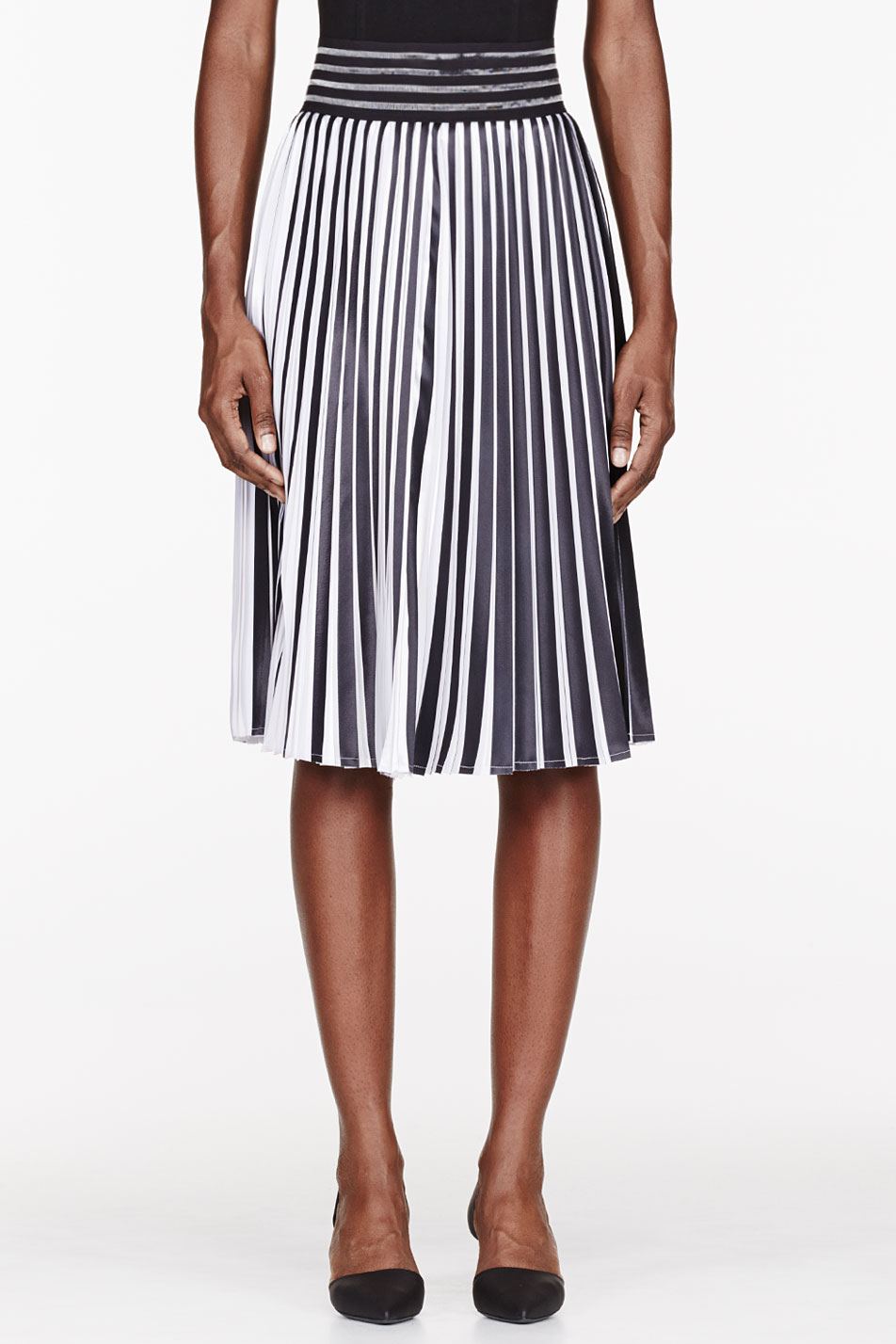 Christopher kane Black and White Pleated Skirt in Black | Lyst