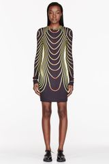 Christopher Kane Black and Yellow Face Grid Bodycon Dress - Lyst
