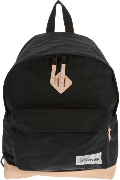Leather Eastpak Backpack: Eastpak X A.p.c. Leather Detail Backpack In Black For Men