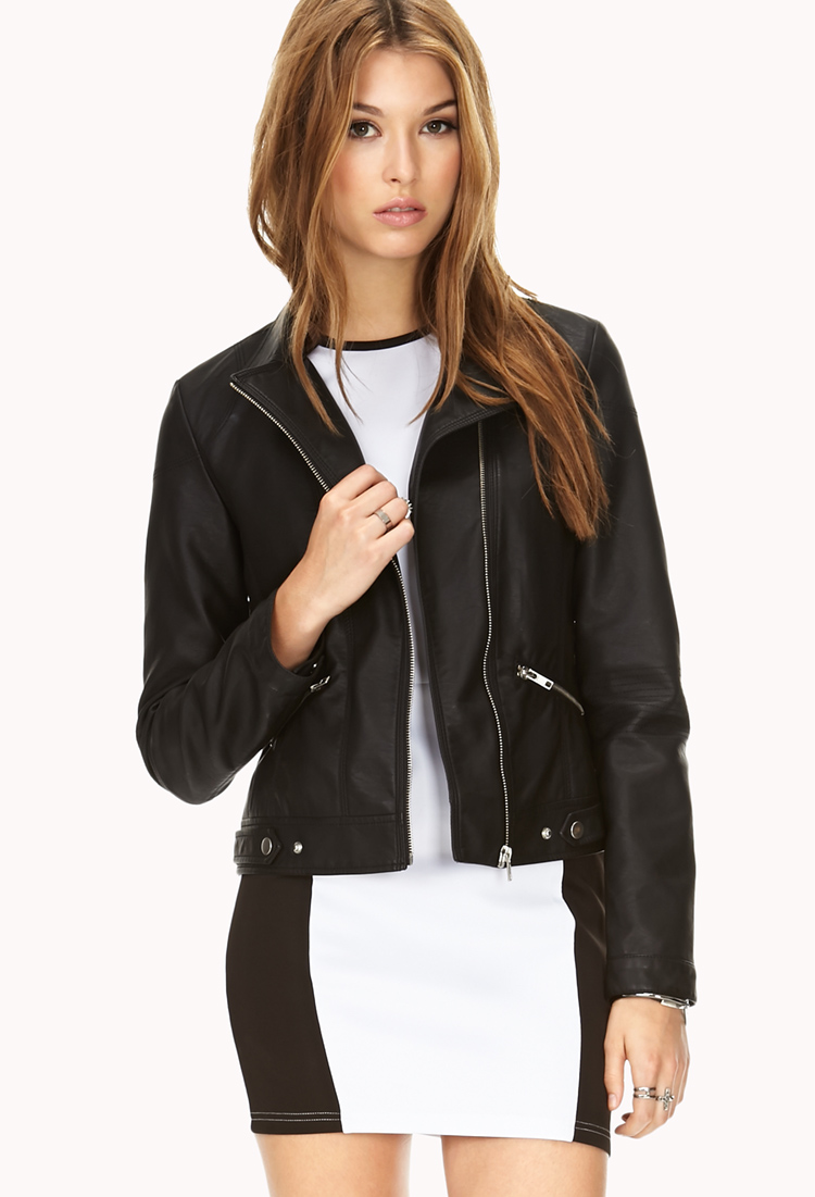 forever 21 sleek faux leather jacket in black lyst