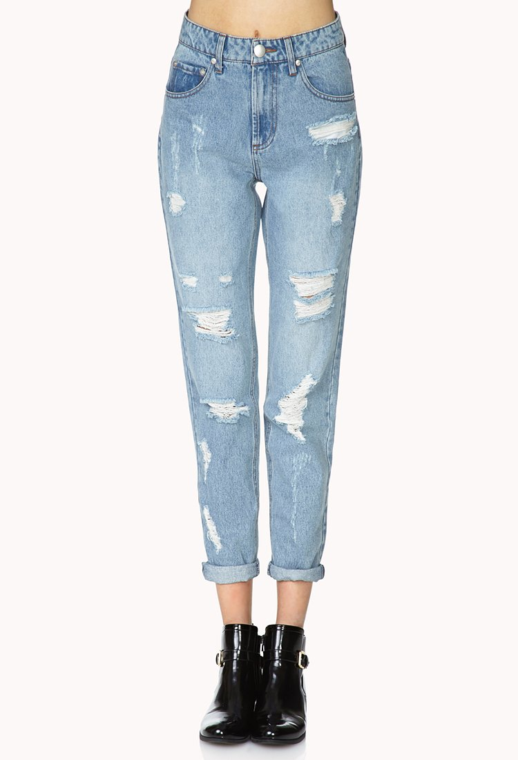 lyst forever 21 classic distressed boyfriend jeans you 39 ve been added to the waitlist in blue. Black Bedroom Furniture Sets. Home Design Ideas