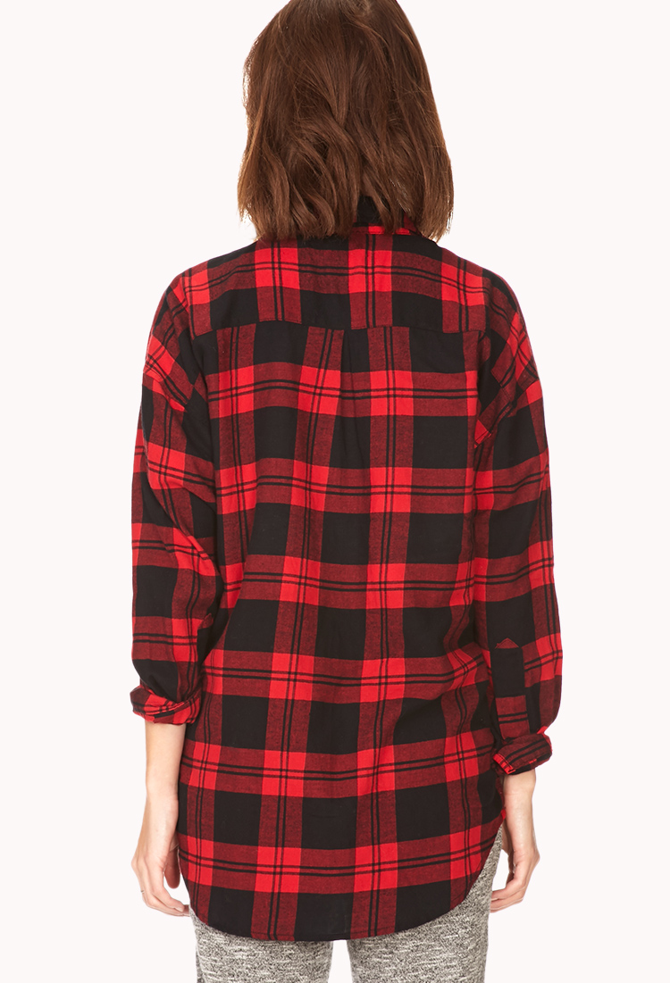 Forever 21 oversized plaid shirt in red lyst for Oversized plaid shirt womens