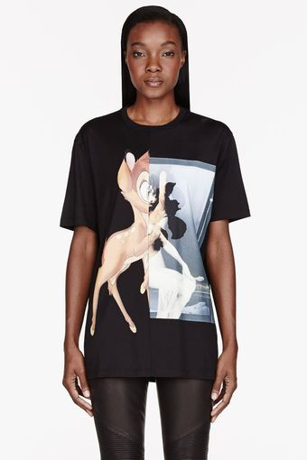 Givenchy Black Baby Deer Print T_shirt - Lyst