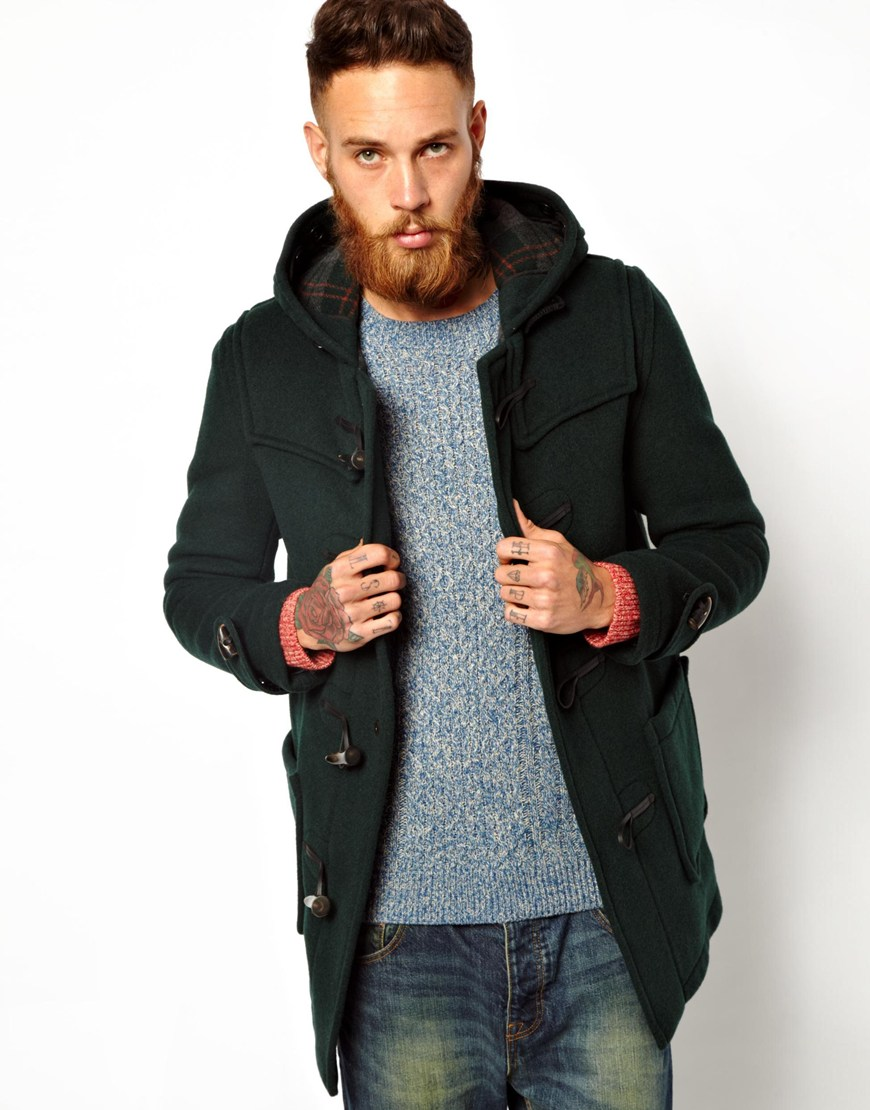 Gloverall Duffle Coat in Checkback Wool in Green for Men | Lyst