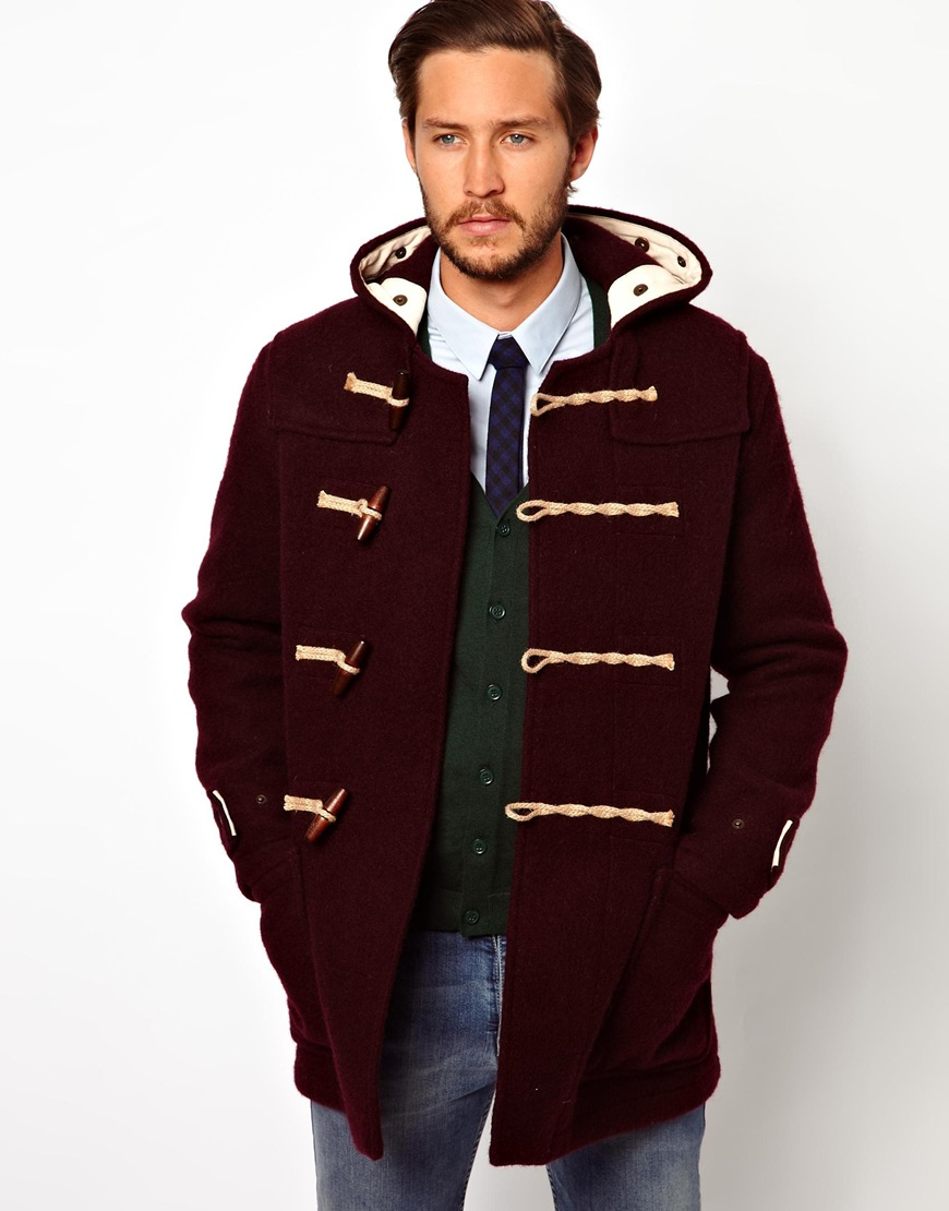 Gloverall Duffle Coat in Boiled Wool in Red for Men | Lyst