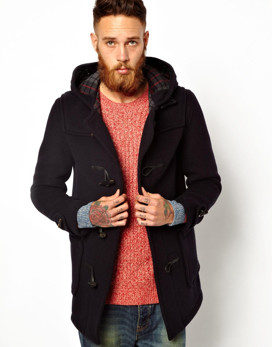 Gloverall Duffle Coat In Checkback Wool in Black for Men | Lyst