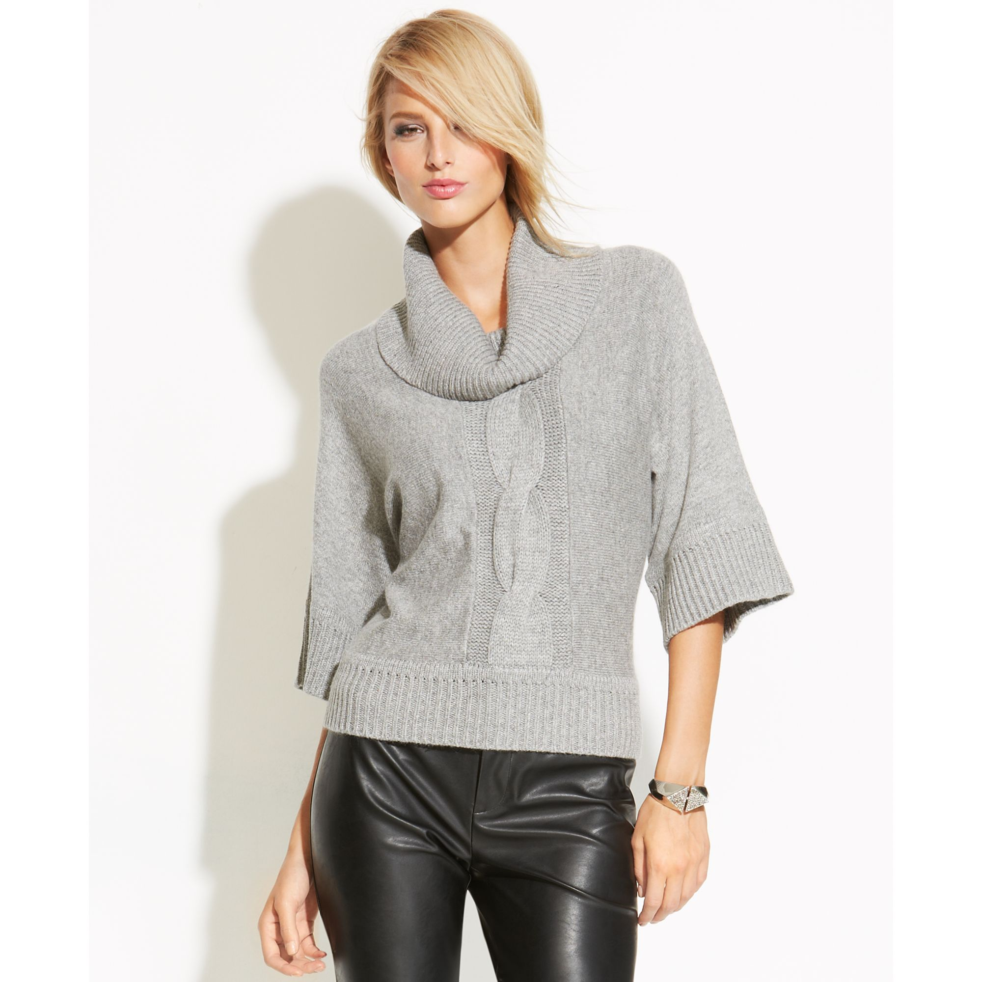 Cowl Neckline: Inc International Concepts Cowl-Neck Cable-Knit Sweater In