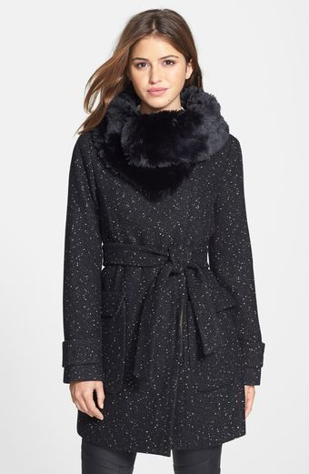 Ivanka Trump Faux Fur Collar Tweed Wrap Coat - Lyst