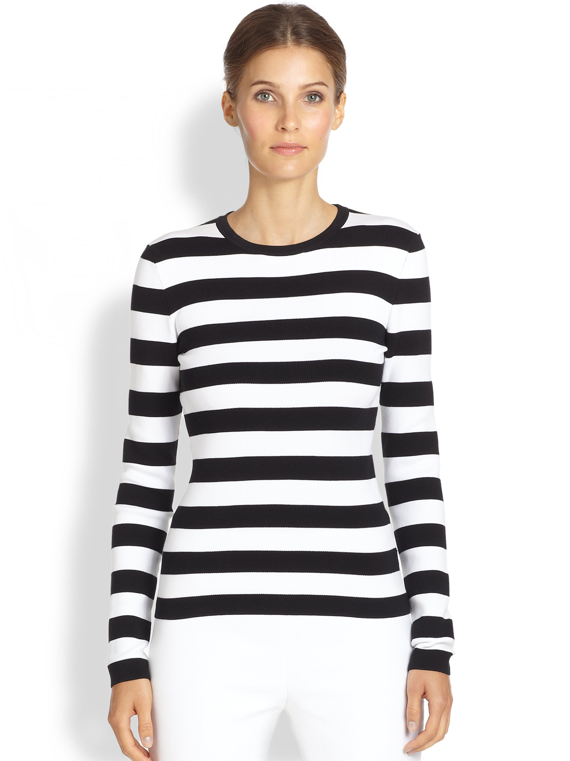 Lyst michael kors striped tee in black for Best striped t shirt