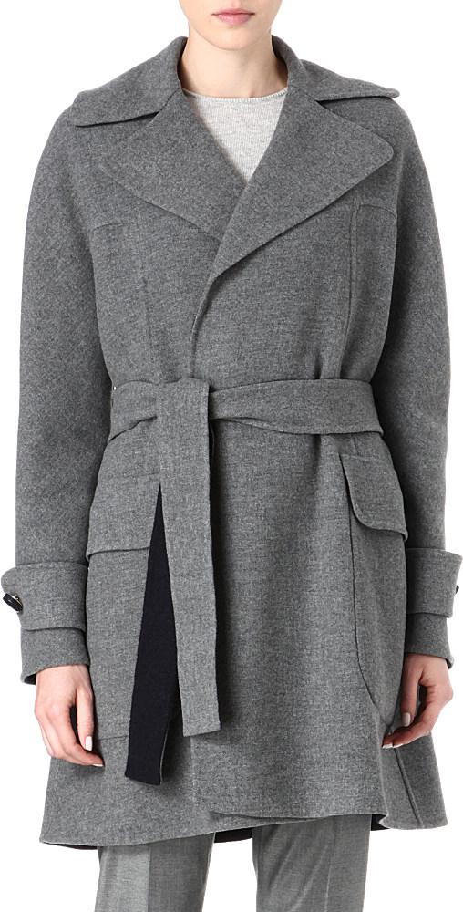 Mulberry Blanket Wrap Coat In Gray Grey Marl Lyst