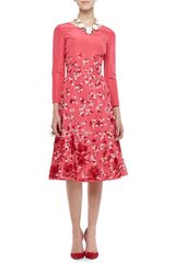 Oscar de la Renta 34sleeve Floral Silk Dress - Lyst