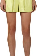 Proenza Schouler Leather Pleat Front Shorts - Lyst