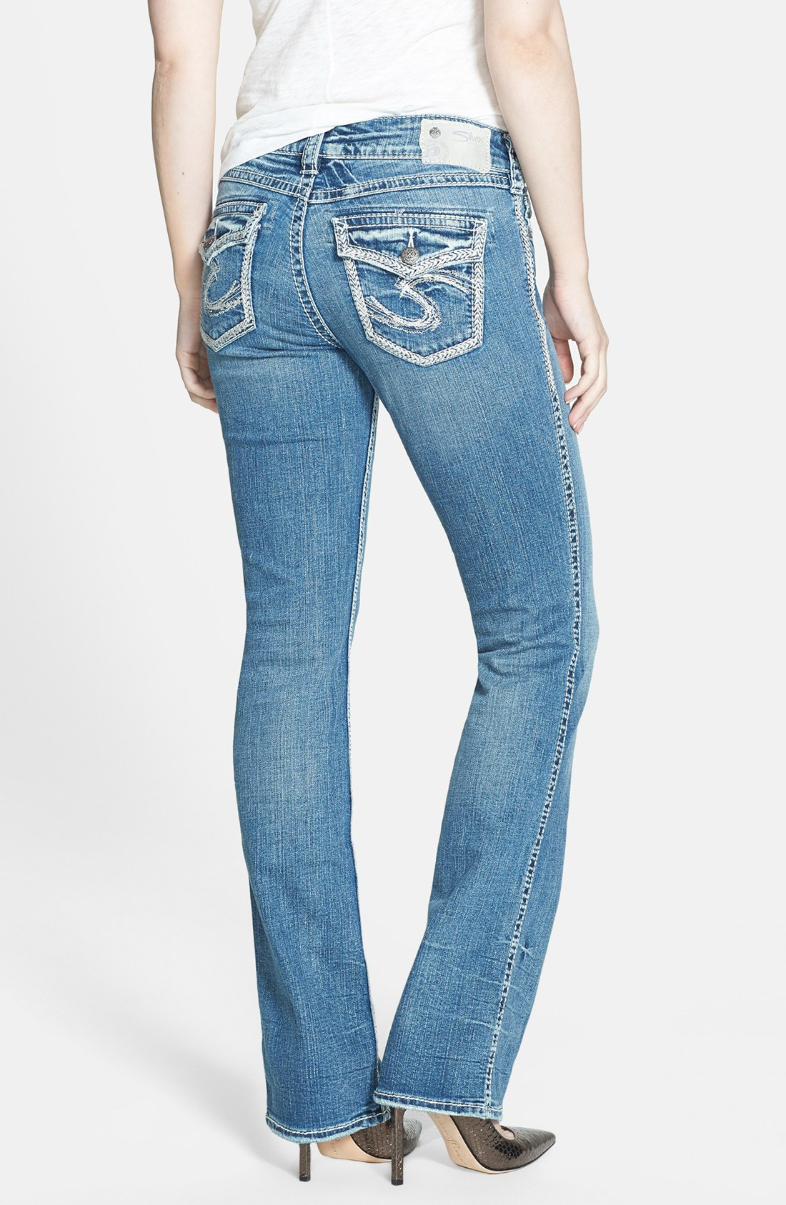 Silver jeans co. Suki Flap Pocket Bootcut Jeans in Blue | Lyst