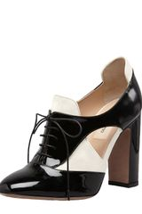 Valentino Lace-up Cut-out Spectator Pump-bootie - Lyst