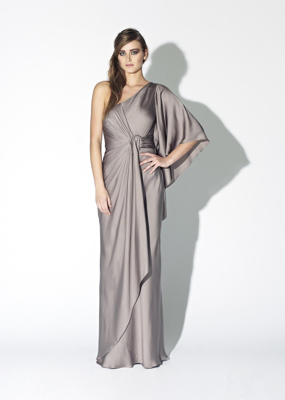 Amanda wakeley waterfall dress in gray lyst for Waterfall design dress