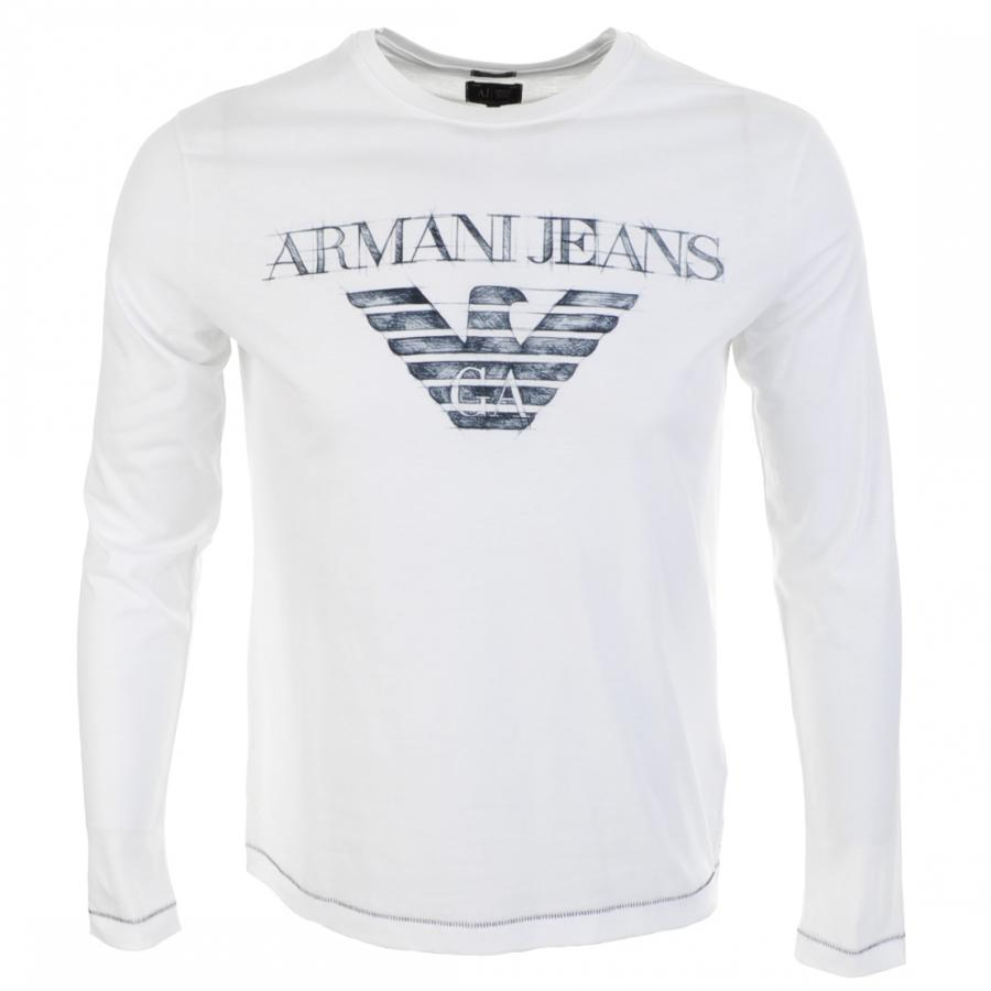 armani jeans logo t shirt in white for men lyst. Black Bedroom Furniture Sets. Home Design Ideas