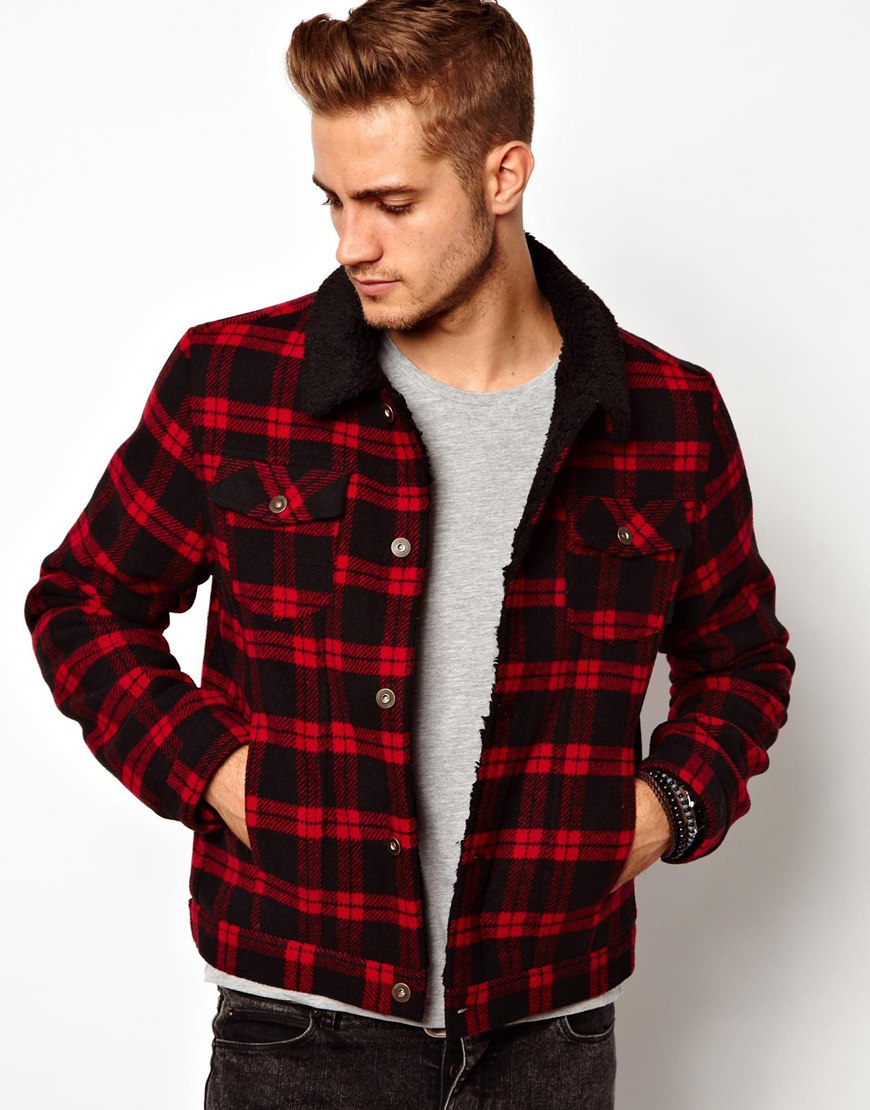 Asos Wool Check Jacket in Red for Men | Lyst