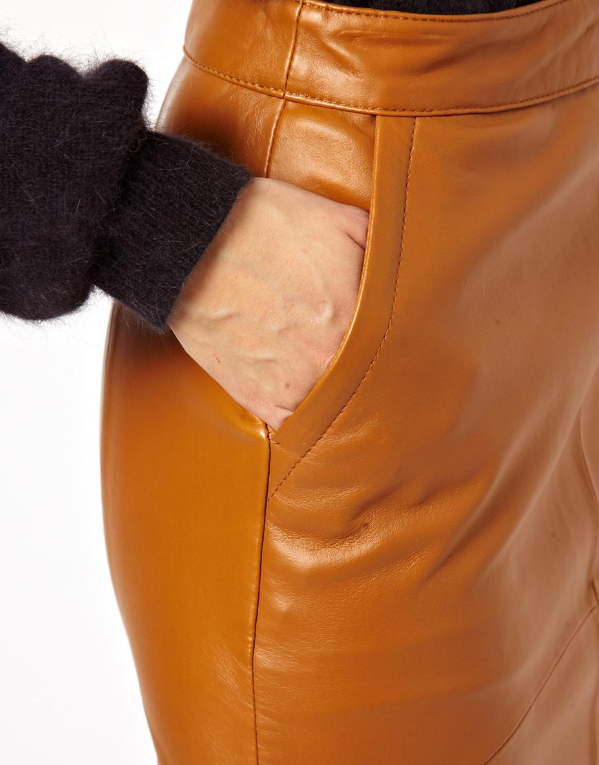 Asos Pencil Skirt in Leather in Brown | Lyst