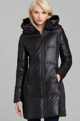 BCBGMAXAZRIA Down Jacket with Fur Collar - Lyst