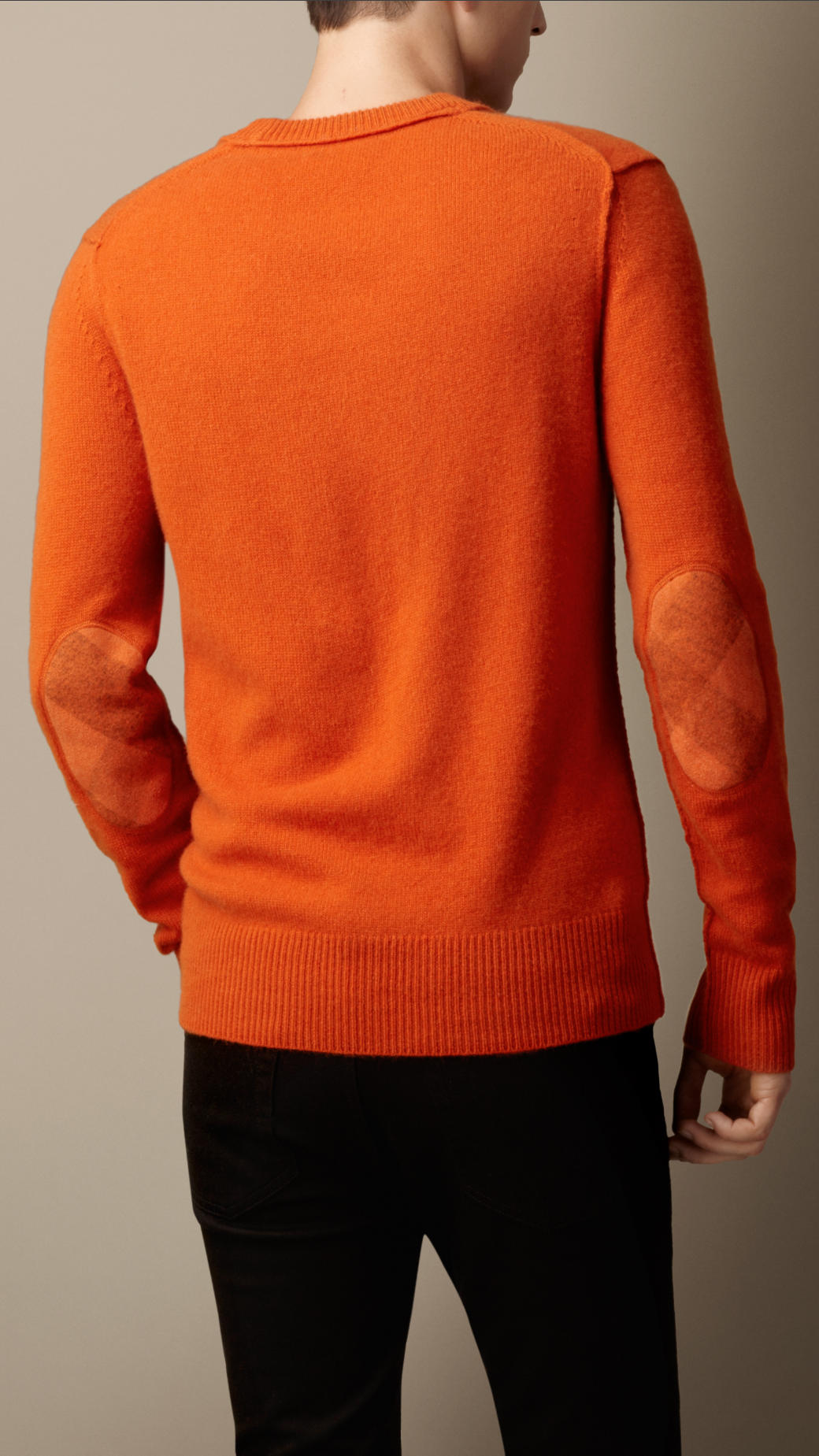 Burberry Elbow Patch Cashmere Sweater in Orange for Men | Lyst
