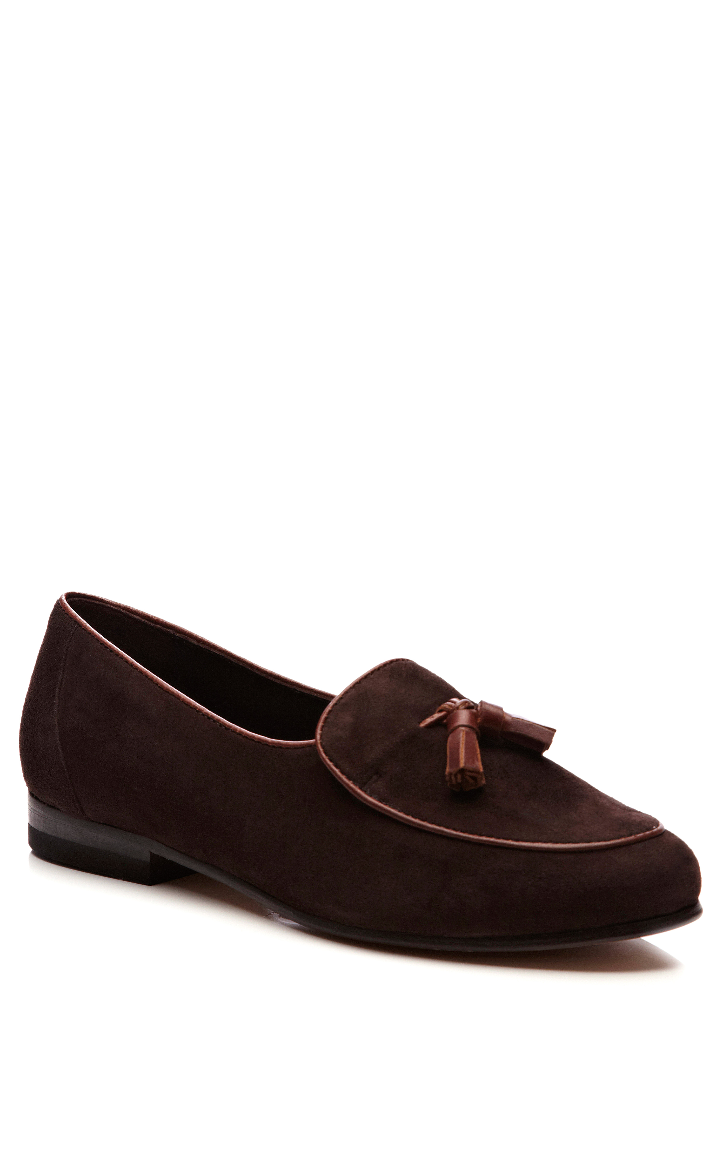 Cb Made In Italy Womens Handmade Tasseled Suede Loafers In
